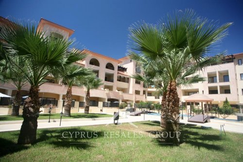 Courtyard with lush palms in Aristo Queens Gardens, next to Lighthouse beach in Paphos, Cyprus