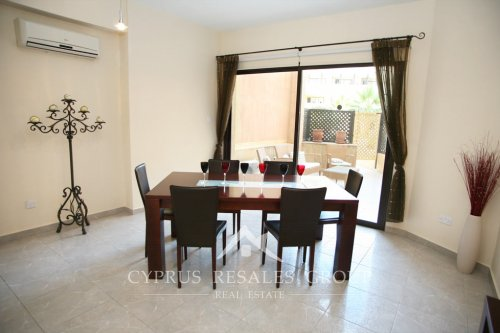 Great example of exclusive property in Cyprus - elegant dining room of a 2 bedroom ground floor apartment in Aristo Queens Gardens, Kato Paphos, Cyprus