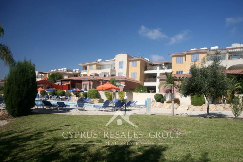 Lush gardens of Pafilia Tala Gardens resort apartments, Cyprus
