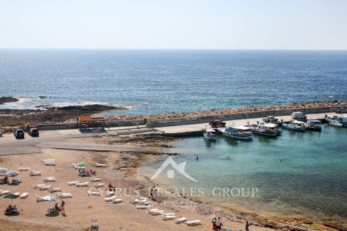 Harbor with sandy beach in St George, Municipality of Peyia, Cyprus